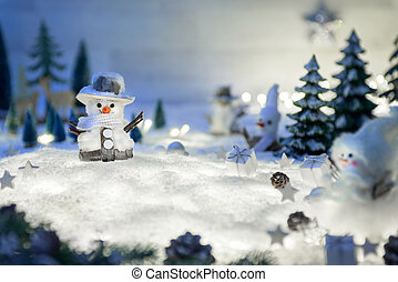Winter and Christmas ornaments on snow