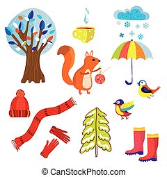 Winter and Chtistmas set symbols cartoon