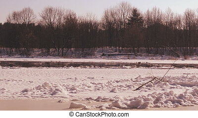 winter and floe floating - Neris River in winter and floe...