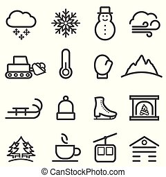 Winter and snow line icons