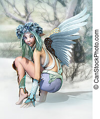 Winter Angel 3d CG - 3D computer graphics of a cheeky little...