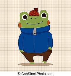 winter animal frog flat icon elements background,eps10