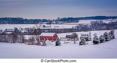 winter, ansicht, von, a, bauernhof, in, ländlich, york, grafschaft, pennsylvania.