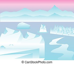 winter arctic landscape with iceberg, sea and mountains