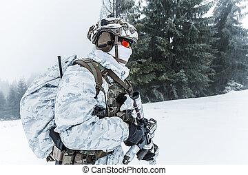 Winter arctic warfare - Winter arctic mountains warfare. ...