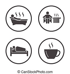 winter., arredondado, inverno, ícones, simples, estação, set., vetorial, atividade, tempo, estilo vida, design., ícone