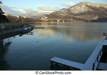 Winter at Annecy on sunset