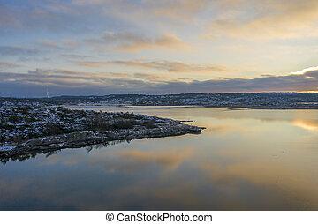 Winter at Gothenburg archipelago drone photo