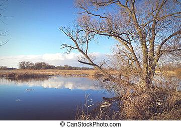 winter at Havel river in Havelland (Brandenburg Germany). vintage effect
