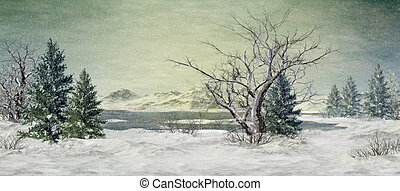 Winter at the Lake - an illustration of a winter landscape