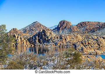 Winter at Watson Lake in Prescott Arizona with the Granite ...