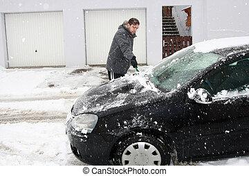 winter, auto, -, junge, entfernen