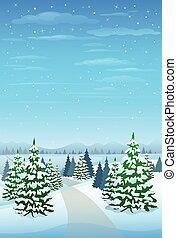 winter- bäume, schnee, kiefer, hintergrund, wald, weihnachten, landschaftsbild