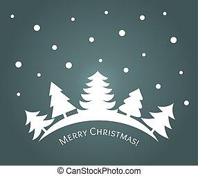 winter- bäume, wald, nacht, weihnachten, landschaftsbild