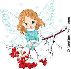 Winter Baby Fairy - Winter Baby Fairy sitting on Ash Tree...