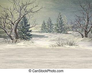 Winter Background - 3D Render