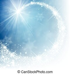 Winter background. - Blue winter background with petard....