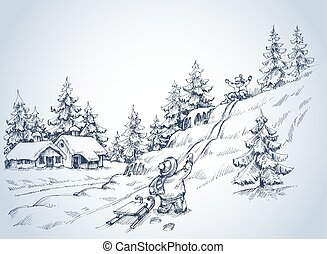 Winter background, children at play in the snow, pine forest...