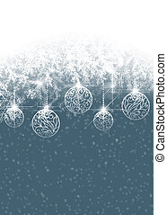 Winter background with Christmas baubles
