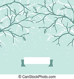 Winter background design with stylized tree branches.
