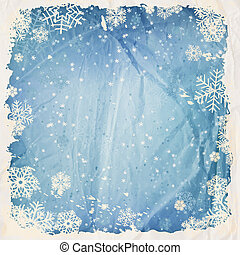 Winter background with falling snow, grunge frame and old...