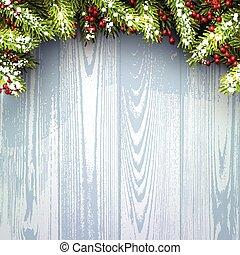 Winter background. - Winter wooden background with fir...