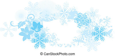 Winter Background ice blue with snow flakes