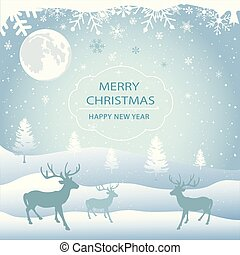 Winter background, landscape. New year and Christmas greeting card.