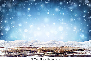 Winter Background - Snowy Table In The Night