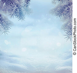 Winter background. Winter snow landscape with snow flakes