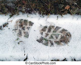 Tracks footprint in the snow