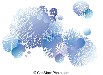 winter background, vector - blue christmas background with...