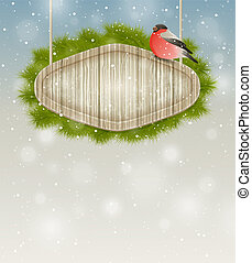 Winter background - Vector winter background with bullfinch...