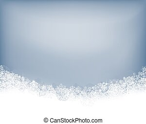 Winter background. Wave border made of fluffy snowflakes...