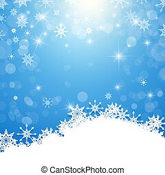Winter Background - White Snowflakes on Blue Background