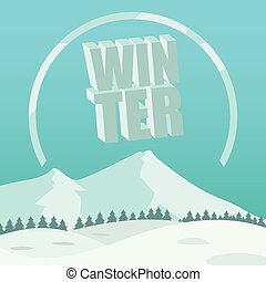 Winter Background with 3D Text Vector Image