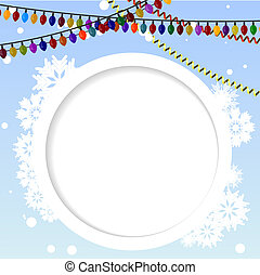 Winter background with a circular element to the text and colored lights