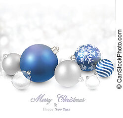 Winter background with blue christmas balls.