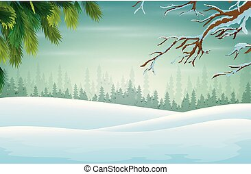 Winter background with branch of christmas tree