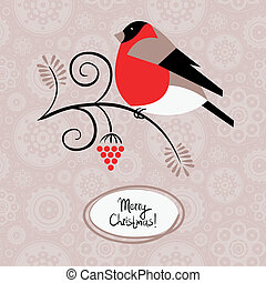 Winter background with bullfinch and ashberry. Christmas card