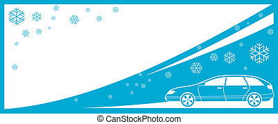 winter background with car and snow