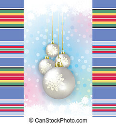 winter background with Christmas decorations and snowflakes