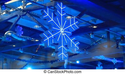 Winter background with Christmas snowflake decoration