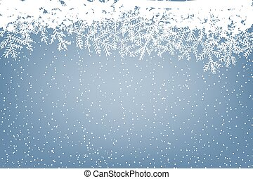 Winter background with falling snow and fir branches....