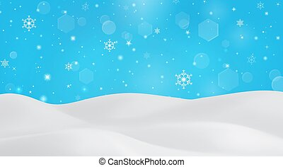 Winter background with falling snowflakes. Snowy landscape on blue sky background and snowfall