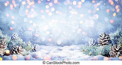 Winter Background With Fir Branches On Snow And Lights