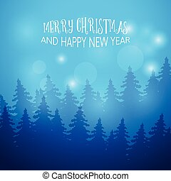 Winter background with fir forest. Greeting card template. New year and Christmas Holidays design. Vector illustration.