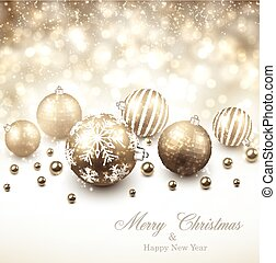 Winter background with golden christmas balls. - Winter...