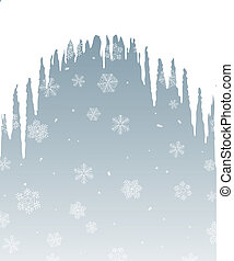 Winter background with icicles and falling snow