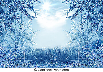 Winter background with icy branches in the foreground